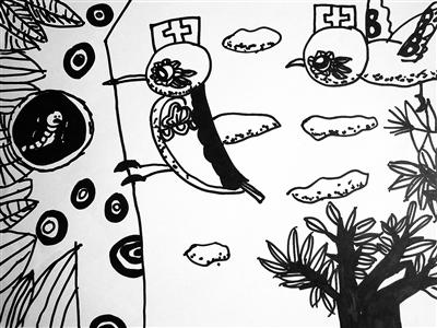 孩子们用画描绘自己喜欢的动物的外形特征,生活习性和它们各自的本领.
